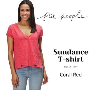 Free People Sundance Tee Distressed V Neck Coral M